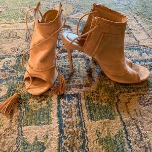 AQUAZZURA neutral suede tie up open booties EUC